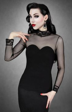 Gothic Lolita Bluse Restyle Rockabilly Dotted Shirt Steampunk Blouse Spitze Lace