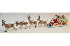 VILLEROY AND BOCH BOXED CHINA CHRISTMAS ORNAMENT MUSICAL SANTA CLAUS AND HIS SLEIGH, laden with p