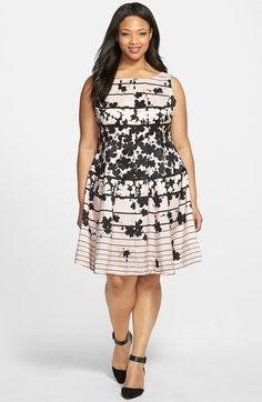 Plus Size Print Shantung Fit & Flare Dress (Plus Size)