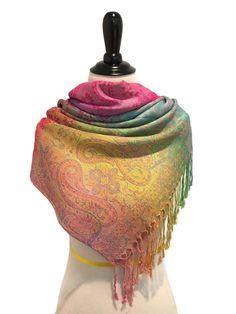 Pashmina Scarf Rainbow Scarf Pashmina Shawl Gift by KMAFashions