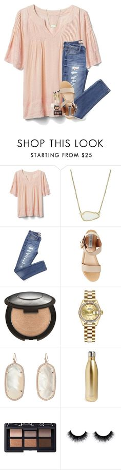 """champagne vibes"" by lindsaygreys ❤ liked on Polyvore featuring Gap, Kendra Scott, Steve Madden, Rolex, S'well and NARS Cosmetics"