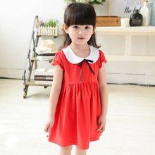 2016 Summer Style New Brand Baby Girls Children's Dresses Kids Cute Princess Short-Sleeve Dresses Red turndown Collar Dress Bow(China (Mainland))
