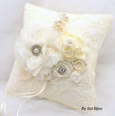 Ring Bearer Pillow Bridal Pillow in Ivory  with Lace by SolBijou, $105.00