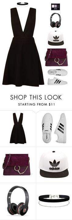 """""""London underground hype"""" by xoxomuty on Polyvore featuring New Look, adidas, Chloé, Beats by Dr. Dre, Miss Selfridge, NYX and bossLady"""