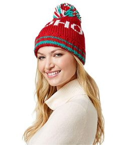 e6ebd789126 Steve Madden Women s  Ho Ho  Holiday Pom-Pom Beanie Hat