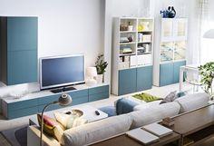 IKEA confirm shelf storage system for living living room tv console wall white blue