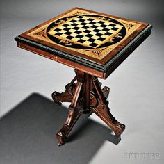 American Renaissance Revival Walnut Games Table, last quarter 19th century. Auction 2740B | Lot 297 | Sold for $2,460