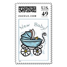 New Baby Boy Baby Carriage Stroller Announcement Postage Stamp