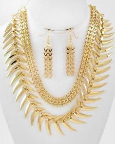 Fern Spike Necklace and Earrings Set Statement Gold Abstract wearable art, @modtoast, summer sale $16.75 free ship
