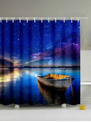 Natural Landscape Print Waterproof Shower Curtain - DEEP BLUE