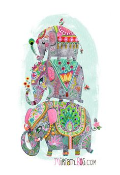"A stack of Elephants | 13x19""- by Miriam Bos in her Etsy shop now! too sweet!"