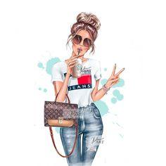Fashion Design Drawings, Fashion Sketches, Fashion Painting, Fashion Art, Boy Fashion, Girl Cartoon, Cartoon Art, Mode Poster, Cute Girl Drawing