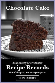 Ancestry's Recipe Records are a wonderful way to try out historical dishes and see what sticks—but never to the pan. Head over to the Ancestry® blog to read more about this delicious dish—complete with ingredient lists—and other recipes from Ancestry's Newspapers.com. Baking Recipes, Cake Recipes, Dessert Recipes, Cocoa Recipes, Chocolate Desserts, Ingredients For Chocolate Cake, Apple Desserts, Baking Ingredients, Unsweetened Chocolate