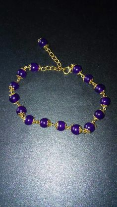 Handmade gold plated amethyst bracelet https://m.facebook.com/LaceOfHeartsJewellery