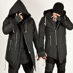 ASYMMETRIC SLIM ZIP-UP HOOD PARKA - 22
