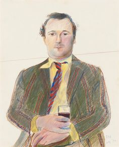 David Hockney (British, b. 1937), Portrait of Peter Langan with a glass of wine, July 1970. Coloured crayon, 41.9 x 33.7 cm.