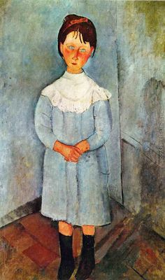 Little Girl In Blue 1918 Art Print by Modigliani Amedeo Amedeo Modigliani, Modigliani Paintings, Italian Painters, Italian Artist, Anime Comics, Pablo Picasso, Chaim Soutine, Blue Painting, Figure Painting