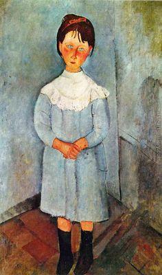 Little Girl In Blue 1918 Art Print by Modigliani Amedeo Amedeo Modigliani, Modigliani Paintings, Italian Painters, Italian Artist, Blue Painting, Figure Painting, Chaim Soutine, Art Moderne, Pablo Picasso