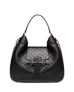 Gucci	 Emily Guccissima Leather Hobo Bag, Black