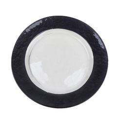 Our 13-inch Charger Plate with Black Basket Weave Border is made of clear glass with a dimpled texture that resembles a basket weave pattern. The center of the charger plate measures approximately 9 inches, perfect for standard or even slightly oversized dinner plates. At www.alwayselegant.com
