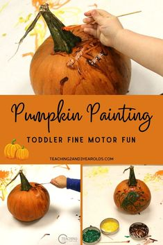 Help your toddlers build fine motor skills with this super easy toddler pumpkin painting activity. Simply wash the paint off and start again! #pumpkin #fall #autumn #paint #easy #art #toddler #2yearolds #teaching2and3yearolds
