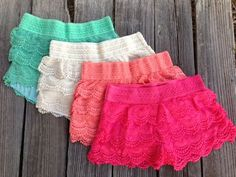 Plus Size Lace Crochet Coral Teal Mint White Shorts Summer Spring Outfit Wardrobe Sexy Trendy http://www.facebook.com/ThinkPinkBoutique1