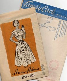 1950s Dress Pattern  ~ Sweetheart Neckline ~ Nipped Waist ~ Flared Skirt ~ Bust 34 ~  Vintage Frock by VivsVintageSewShop on Etsy