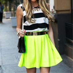green skirt neon colors
