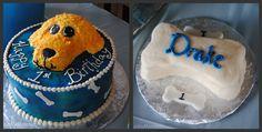 Doggie-themed 1st birthday cake