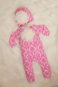 fdf69c0bfb75 Hot Pink Damask Infant Layette Cotton Baby Romper with Large Chiffon On The  Chest and Matching Hat