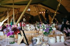 Sweet peas, jars & fairy lights! #Tipi #Wedding in the Lake District