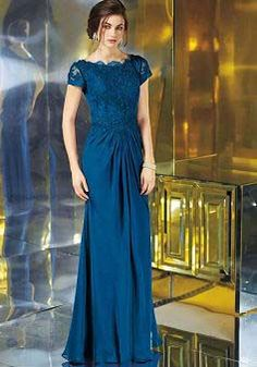 Royal Blue Hook and Eye Closure Bateau Satin Chiffon Sheath Mother of the Bride Dress - 1300105960B - US$169.99 - BellasDress