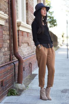 Layered cardigan and undone button-down, loose pants, booties and maybe a fedora