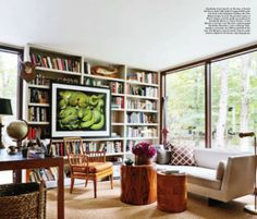 livingroom, bookcase, beige, brown, picture in front