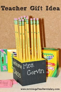 EASY DIY Handmade Pencil Holder Personalized for Teacher's desk! fun for back to school and teacher appreciation days