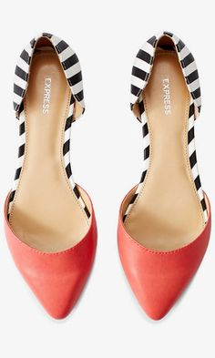 "These pointed flats are the best of all worlds. A sleek spring silouette that's comfortable enough for everyday wear. A gorgeous shade of coral married with high-contrast stripes obey a closed-toe work policy while still making a style statement.  Pointed toe Padded footbed Covered 1/2"" heel Synthetic upper and sole Imported"