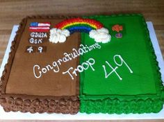 junior girl scout bridging cakes - Google Search Girl Scout Swap, Daisy Girl Scouts, Boy Scouts, Girl Scout Leader, Girl Scout Troop, Brownie Girl Scouts, Girl Scout Badges, Girl Scout Cookies, Girl Scout Camping