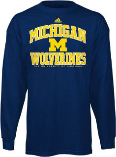 adidas Michigan Wolverines Mens University Long Sleeve Tee Shirt $24.95