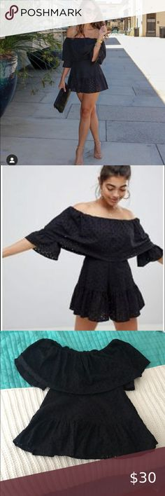 ASOS Black Eyelet off the shoulder romper Size 6 Excellent condition  Size 6 ASOS Pants & Jumpsuits Jumpsuits & Rompers