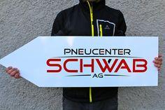 Schild für Pneucenter Schwab, geschnitten aus Präzisionsfolie Car Advertising, Logo Design, Sign, Advertising