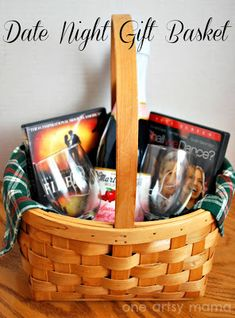 Romantic Movie Night Gift Basket. Cute Wedding or Anniversary gift