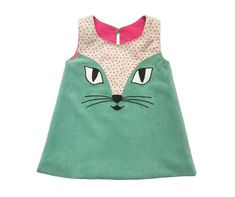 Cat Dress in Turquoise baby infant toddler kids Sewing For Kids, Baby Sewing, Cat Dresses, Girls Dresses, Doll Dresses, Sewing Clothes, Doll Clothes, Little Girl Dresses, Fashion Kids