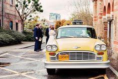 Wedding car. London wedding. TV car hire. NYC taxi cab. Yellow cab. Wedding vehicle. Wedding Photograph. London wedding.