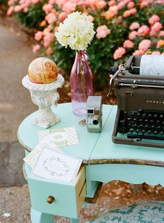 Eclectic trinkets add charm to the registration table #vintage #wedding