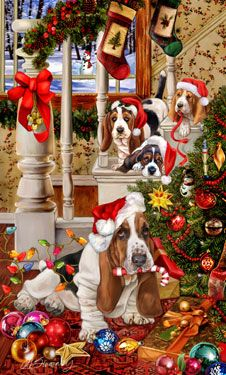 """New for 2012! Basset Hound Christmas Holiday Cards are 8 1/2"""" x 5 1/2"""" and come in packages of 12 cards. One design per package. All designs include envelopes, your personal message, and choice of greeting. Select the inside greeting of your choice from the menu below.Add your custom personal message to the Comments box during checkout."""
