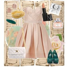 """I'd die to wear this at my cousin's British wedding this summer!     Items in this set:    •Paule Ka Boned strapless dress  Pleated dress  •Yves Saint-Laurent Palais Peep Toe Pumps  •Marc Jacobs White Quilted Single Bag  •Chan Luu """"Bg-1492"""" Gold Wrap Bracelet With Gold Nuggets  •Carved Rose Studs- TopShop  •Facet Stone Double Ring  •M·A·C 3 Lash  •NARS Sheer Lipstick - Belle de Jour  •Dior Miss Dior Cherie Eau De Parfum"""