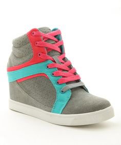 Another great find on #zulily! Gray & Pink Strudel Wedge Sneaker #zulilyfinds