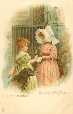 THE NEW BUNNIE-painted by Helen Jackson...ART, CHROMOGRAPHED IN GERMANY, same images, French backs SERIE 627, some images occur in Jack & Jill book First Use:23/12/1903-Sold in: Great Britain, United States of America, New Zealand