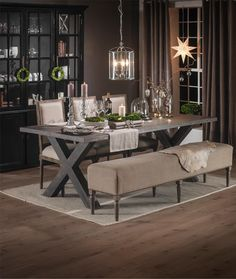 Love this dining table. Pittsburg dining table in dark burnt oak with Bruge dining chairs & Artimino bench. Dining Table Design, Dining Table In Kitchen, Dining Chairs, Dining Area, Dining Room Centerpiece, Indoor Picnic, Esstisch Design, Sweet Home, Interior Design