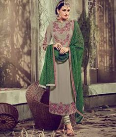 Buy Gray Georgette Straight Cut Suit 73043 online at lowest price from huge collection of salwar kameez at Indianclothstore.com.